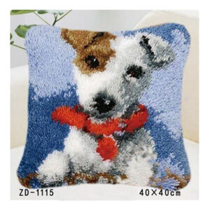 Crafting Kit Latch Hook with Canvas Hook and Threads JACK RUSSEL DOG