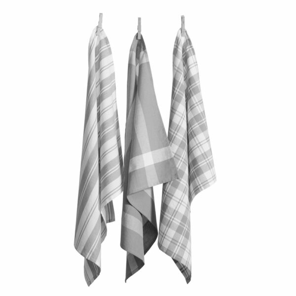 Country Vintage Modern Tea Towels Cotton Dish Cloths Set 3 GREY