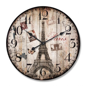Clock Wall Hanging PARIS EIFFEL TOWER STAMPS Clocks 29cm