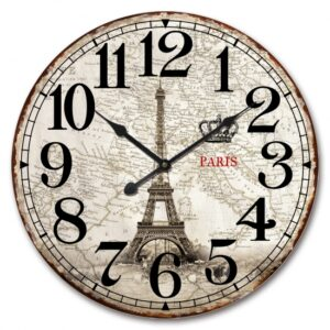 Clock Country Vintage Wall Large PARIS EIFFEL TOWER MAPS 60cm