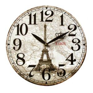 Clock Wall Hanging PARIS EIFFEL TOWER MAP Clocks 29cm