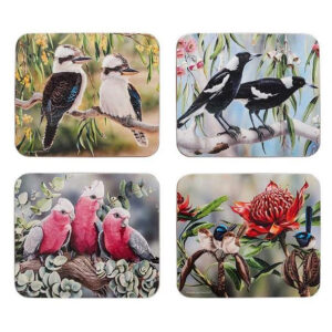 Dining Kitchen Australian Bird and Floral Cork Backed Coasters Set 4