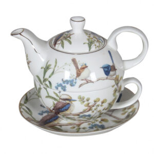 Elegant Kitchen China Teapot AUSTRALIAN BIRDS Tea For One Set