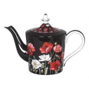 Elegant Kitchen Teapot POPPIES ON BLACK China Tea Pot