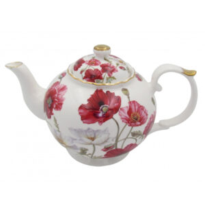 Elegant Kitchen Teapot POPPIES ON WHITE China Tea Pot