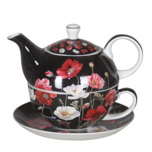 Elegant Kitchen China Teapot POPPIES ON BLACK Tea For One Set