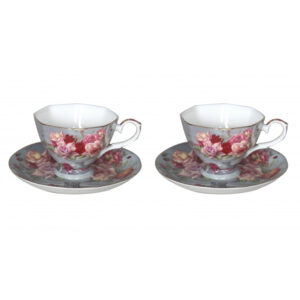 Elegant Kitchen Tea Cups and Saucers Set of 2 SERENITY ROSE
