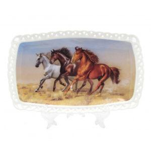 Elegant Kitchen Plate HORSES Serving Tray Platter 25x15cm