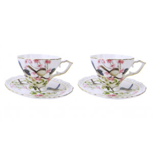 Elegant Kitchen Tea Cups and Saucers Set of 2 BLUE WREN