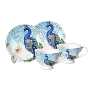 Elegant Kitchen Tea Cups and Saucers Set of 2 PEACOCK