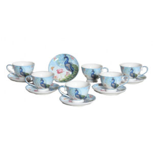Elegant Kitchen Tea Cups and Saucers Set of 6 PEACOCK Giftboxed