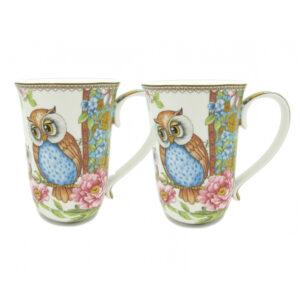 Elegant Kitchen Tea Coffee Mugs Cups OWLS Set of 2