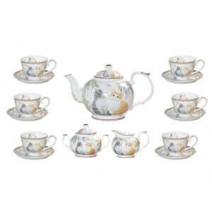 Elegant Kitchen 15 piece Tea Set CATS Teapot, Cups, Sugar, Creamer