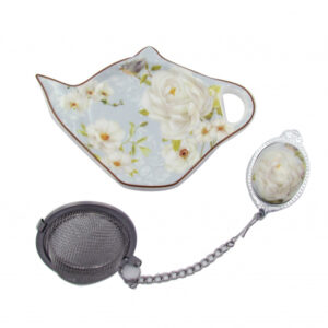 Elegant Kitchen China WHITE ROSE Tea Bag Holder and Strainer Set