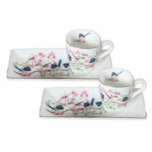 Elegant Kitchen Tea Cups and Saucers Set of 2 BLUE WREN Small