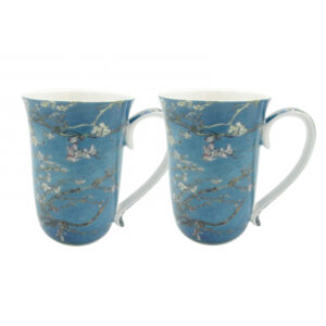 Elegant Kitchen Tea Coffee Van Gogh Apple Blossoms Cups Set of 2