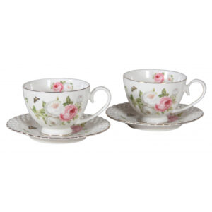 Elegant Kitchen Tea Cups and Saucers Set of 2 BUTTERFLY ROSE