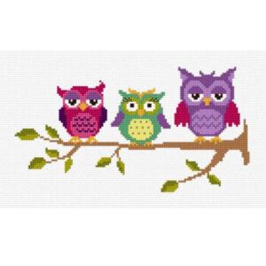 DMC Cross X Stitch Kit THREE PERCHED OWLS 25x15cm 577115