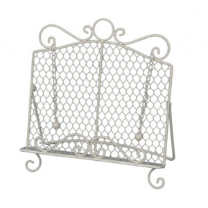 French Country Kitchen Wrought Iron Wire White Recipe Book Holder