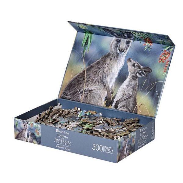Australian Wildlife Fauna Kangaroo and Joey Jigsaw Puzzle
