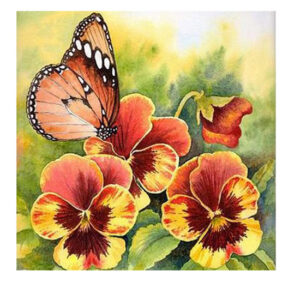5D Diamond Painting Full Image Squares PANSY BUTTERFLY 35x35cm