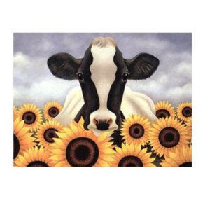 5D Diamond Painting Full Image Squares SUNFLOWER COW 30x40cm