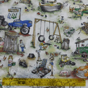 Quilting Patchwork Fabric REDNECK COUNTRY 50x55cm FQ Material