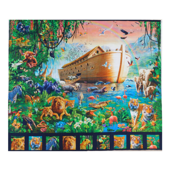 Patchwork Quilting Sewing Fabric NOAHS ARK ANIMALS Panel 95x110cm Material