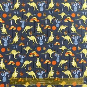 Quilting Patchwork Fabric WILD KANGAROO 50x55cm FQ Material