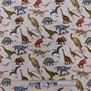 Quilting Patchwork Fabric LOST WORLD DINOSAUR 50x55cm FQ Material