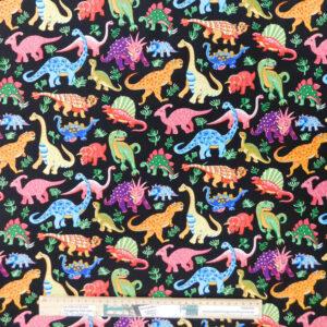 Quilting Patchwork Fabric DINOSAUR BRIGHT 50x55cm FQ Material