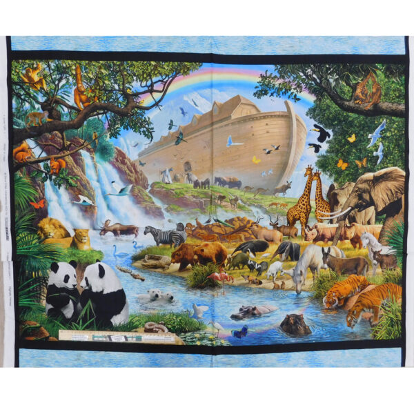 Patchwork Quilting Sewing Fabric NOAHS ARK ANIMALS 2 Panel 90x110cm Material