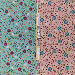 Patchwork Quilting Sewing Fabric TWO TONES FLORALS Panel 50x110cm 1/2meter Cut