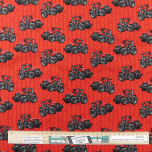 Quilting Patchwork Fabric TRACTORS RED 50x55cm FQ Material