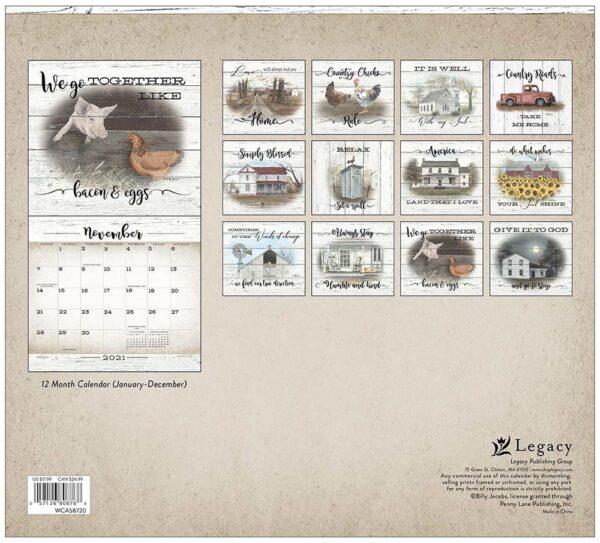 Legacy 2021 Calendar FARMHOUSE Calender Fits Lang Wall Frame