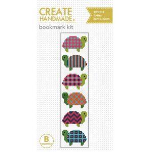Create Handmade Cross Stitch Bookmark Kit Beginner TURTLES 20x5cm