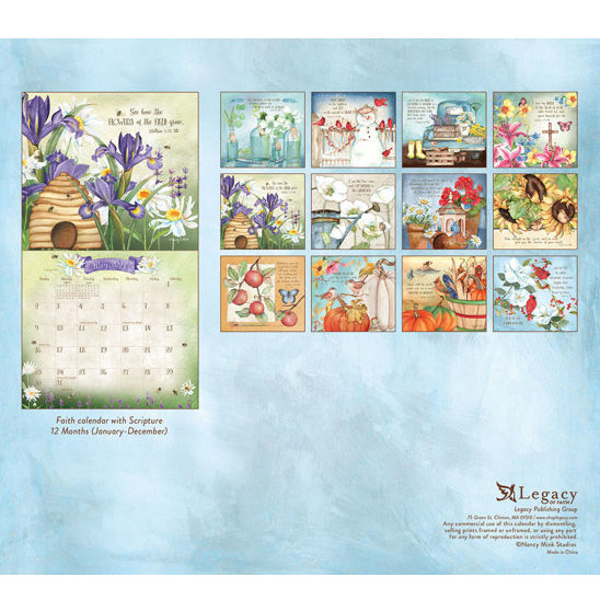 Legacy 2021 Calendar FAITHFUL HEART and HOME Calender Fits Lang Wall Frame