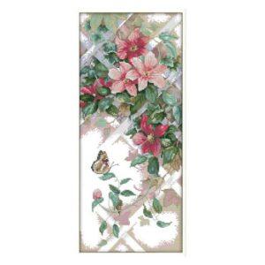 Cross Stitch Kit BUTTERFLY OVER FLOWERS X Stitch Joy Sunday Inc Threads
