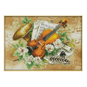 Cross Stitch Kit Flowers and the Violin X Stitch Joy Sunday Incl Threads
