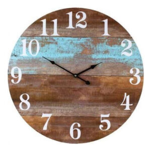 Clocks Wall Hanging Rustic Teal Boards Clock White Numbers 58cm