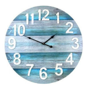 Clocks Wall Hanging Rustic Teal Boards 58cm Clock White Numbers