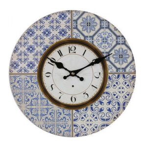 Clocks Wall Hanging Vintage Looking Moroccan Blue Tiles Clock 34cm