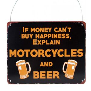 Country Metal Tin Sign Wall Art MOTORCYCLE and BEER Plaque