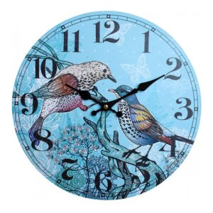 Clocks Wall Hanging Vintage Looking Twin Birds Clock 34cm