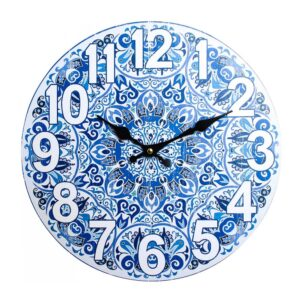 Clocks Wall Hanging Mediterranean Blue Clock 34cm
