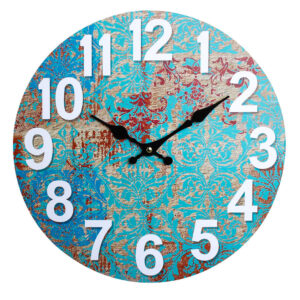 Clocks Wall Hanging Rustic Blue Crete Clock 34cm