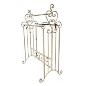 French Country Off White Towel Rack Standing Wrought Iron Rustic