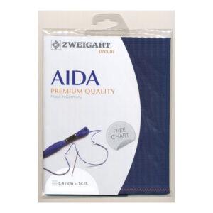 Cross Stitch Aida Cloth 14 Count ZWEIGART NAVY 48x53cm Fabric