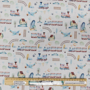 Quilting Patchwork Fabric GRAND ADVENTURE TRAINS WHITE 50x55cm FQ