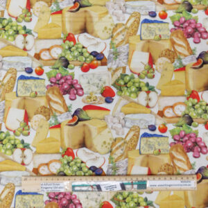 Quilting Patchwork Fabric CHEESE AND FOOD 50x55cm FQ Material